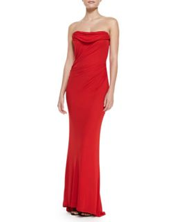 Womens Strapless Draped Front Gown, Red   David Meister