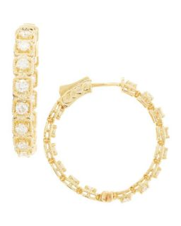 Fantasy Hoop Yellow Gold Diamond Earrings, 2.0 tcw