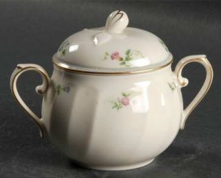 Mikasa Petit Fleur Sugar Bowl & Lid, Fine China Dinnerware   Floral Border