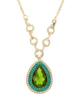 Pear Cut Crystal Necklace, Green