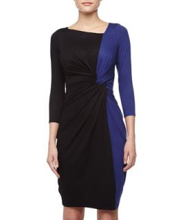 Twist Front Two Tone Dress, Cobalt/Black