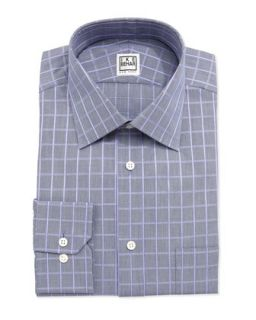 Long Sleeve Checked Poplin Dress Shirt, Juniper