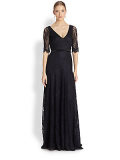 Theia Lace Elbow Sleeve Gown   Midnight