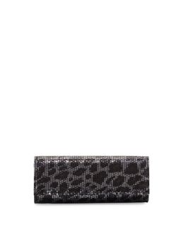 Sequined Leopard Print Clutch Bag, Silver