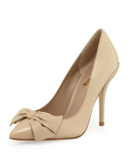 Ardana Almond Toe Bow Pump, Buff