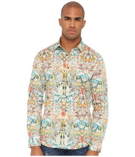 Just Cavalli Acanthus Embroidery Print Slim Fit Shirt Mens Long Sleeve Button Up (Multi)