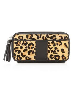 Leopard Print Calf Hair Zip Around Wallet