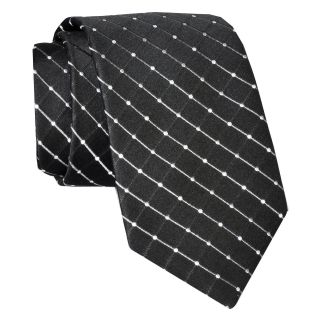 Stafford Dotted Grid Silk Tie, Black, Mens