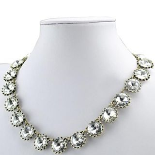 White Rhinestone Cluster Necklace Trendy Bridal Jewelry
