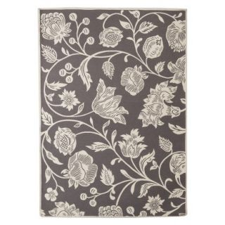 Threshold Indoor/Outdoor Floral Area Rug   Gray (7x10)