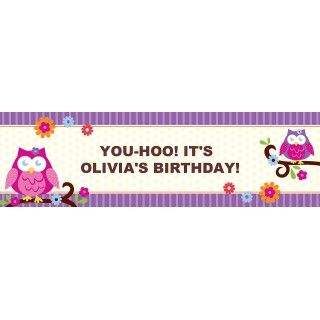 Owl Blossom Personalized Birthday Banner