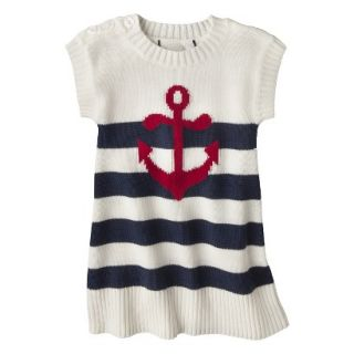 Infant Toddler Girls Striped Anchor Sweater Dress   White/Navy 2T