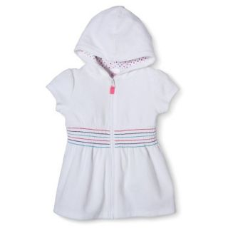 Circo Infant Toddler Girls Hooded Cover Up Dress   White 5T