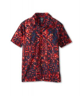 Volcom Kids Broha Tee Boys Short Sleeve Button Up (Red)