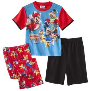 Super Mario Brothers Boys 3 Piece Short Sleeve Pajama Set   10 Red