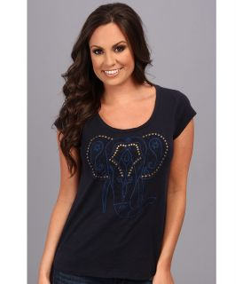Lucky Brand Elephant Embroidered Tee Womens Short Sleeve Pullover (Navy)