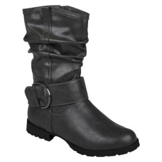 Womens Bamboo By Journee Slouchy Buckle Boots   Grey 10