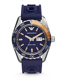 Emporio Armani Round Stainless Steel Watch   Blue