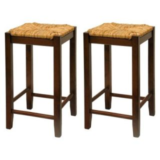 Counter Stool Winsome Alec Rush Seat Counter Stools   Antique Brown (Walnut)