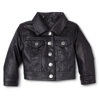 Dollhouse Infant Toddler Girls Faux Leather Jacket   Black 12M