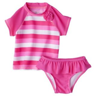 Circo Infant Toddler Girls 2 Piece Stripe Rashguard Set   Pink 4T