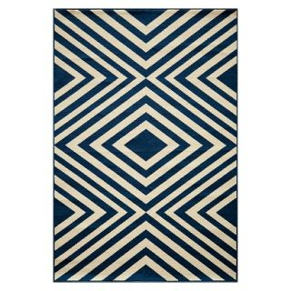 Indoor/Outdoor Geometric Area Rug   Navy (7x10)