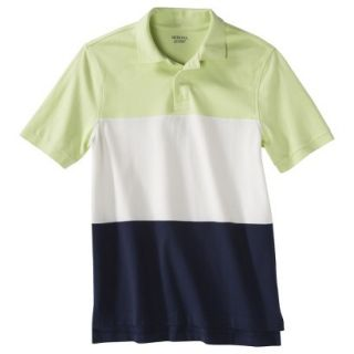 Mens Classic Fit Colorblock Polo Shirt Navy white yellow XXL