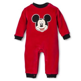 Disney Newborn Boys Velour Mickey Mouse Coverall   Red 6 9 M