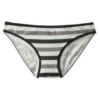 Xhilaration Juniors Cotton Bikini   Grey Rugby Stripe JXL