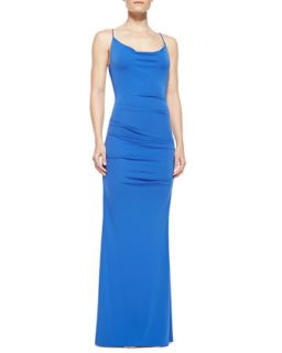 Womens Spaghetti Strap Ruched Gown, Classic Blue   Nicole Miller