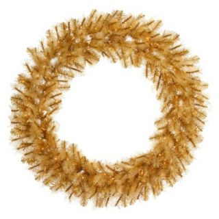 Pre Lit Gold Glitter Cashmere Wreath   Clear Lights (30)