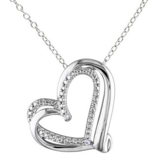 Womens Heart Pendant Necklace   Silver
