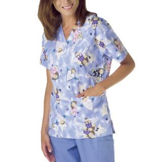 Medline Ladies V Neck Scrub Top with Two Pockets   Angel Print (Small)