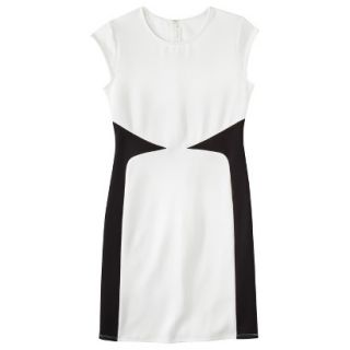 Mossimo Womens Colorblock Scuba Dress   White/Black XXL