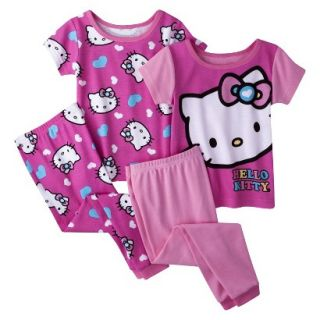 Hello Kitty Toddler Girls 4 Piece Short Sleeve Pajama Set   Pink 5T