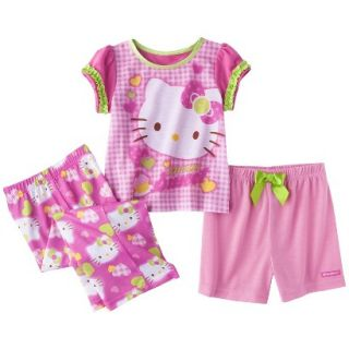Hello Kitty Toddler Girls 3 Piece Short Sleeve Pajama Set   Pink 2T