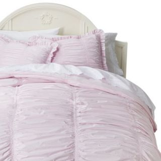Simply Shabby Chic Rouched Comforter Set   Pink(Full/Queen)
