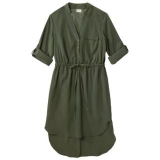 Merona Womens Drawstring Shirt Dress   Moss   XS