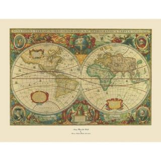 Old World Map Painting Artwork   Extra Large