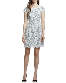 Womens White Lace Cap Sleeve Dress   Shoshanna