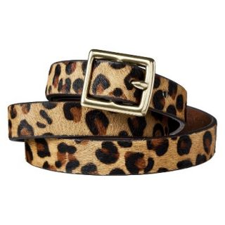 Merona Leopard Print Calf Hair Belt Brown/Tan   L