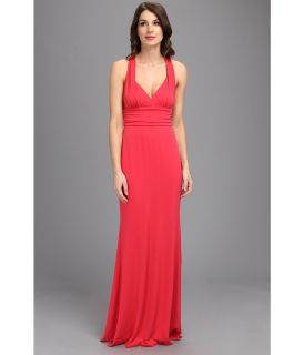 Nicole Miller Stretchy Matte Jersey Halter Gown Womens Dress (Pink)