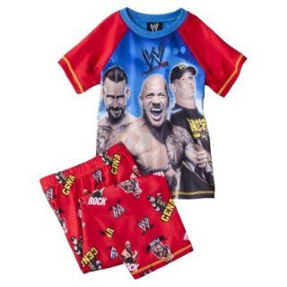 WWE Boys 2 Piece Short Sleeve Tee and Pant Pajama Set   Red S