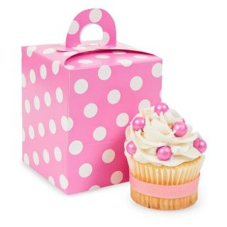 Hot Pink White Polka Dot Cupcake Boxes
