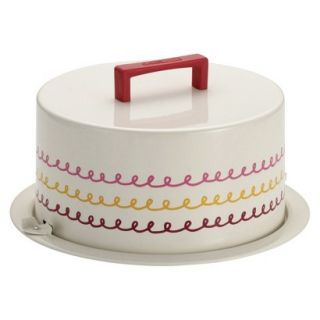 Cake Boss Serveware Metal Cake Carrier with Icing motif