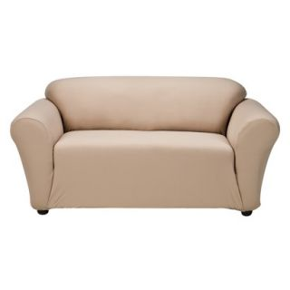 Casual Home Stretch Twill Loveseat Slipcover   Tan
