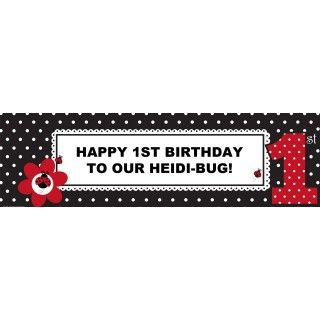 LadyBug Fancy 1st Birthday Personalized Banner