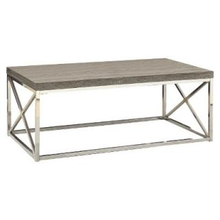 Coffee Table CMonarch Specialties hrome/Metal Cocktail table   Dark Taupe