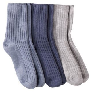 Merona Womens 3 Pack Casual Ankle Socks   Blue One Size Fits Most