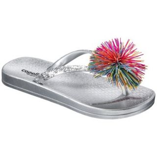 Girls Koosh Flip Flop Sandals   Silver 10 11
